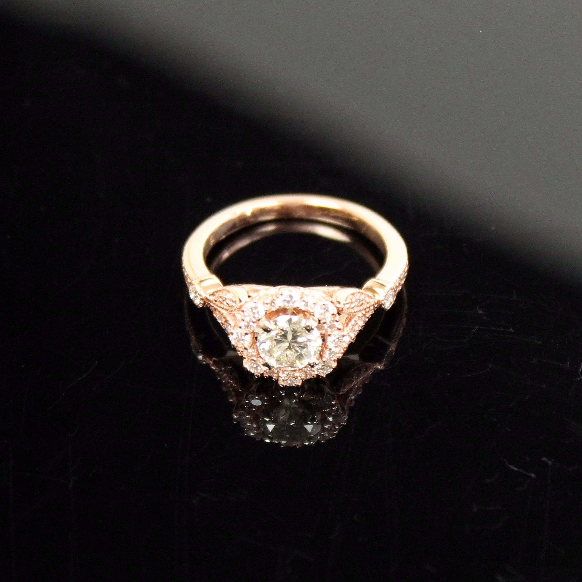 14K ROSE GOLD ROUND BRILLIANT CUT .70 CT REAL DIAMOND RING - 1.12 TCW W/ HALO