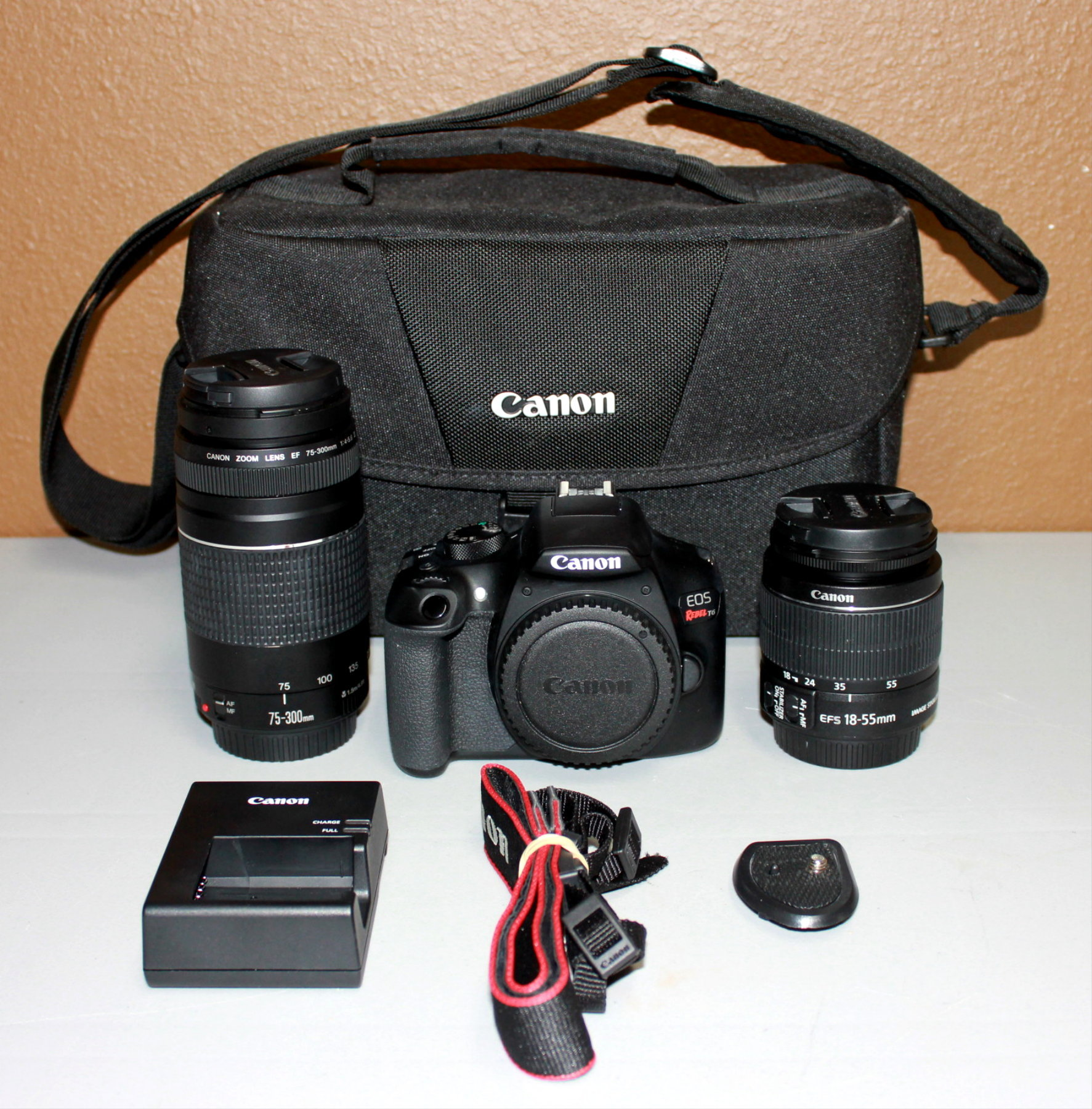 CANON EOS REBEL T6 DIGITAL CAMERA W/2 LENSES, CASE, & ACCESSORIES