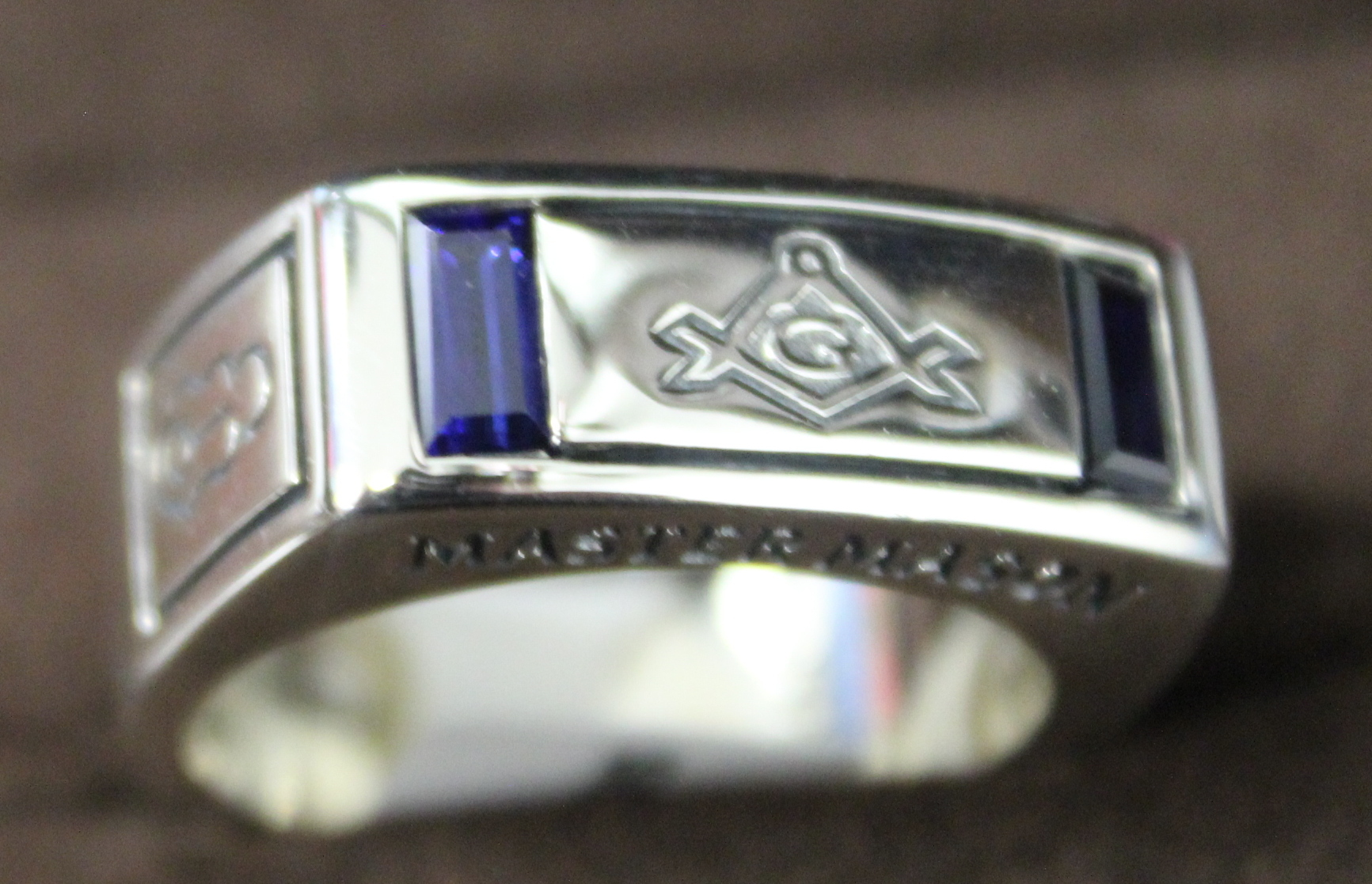 NEW Sterling Silver Synthetic Sapphire Master Mason Ring size 10