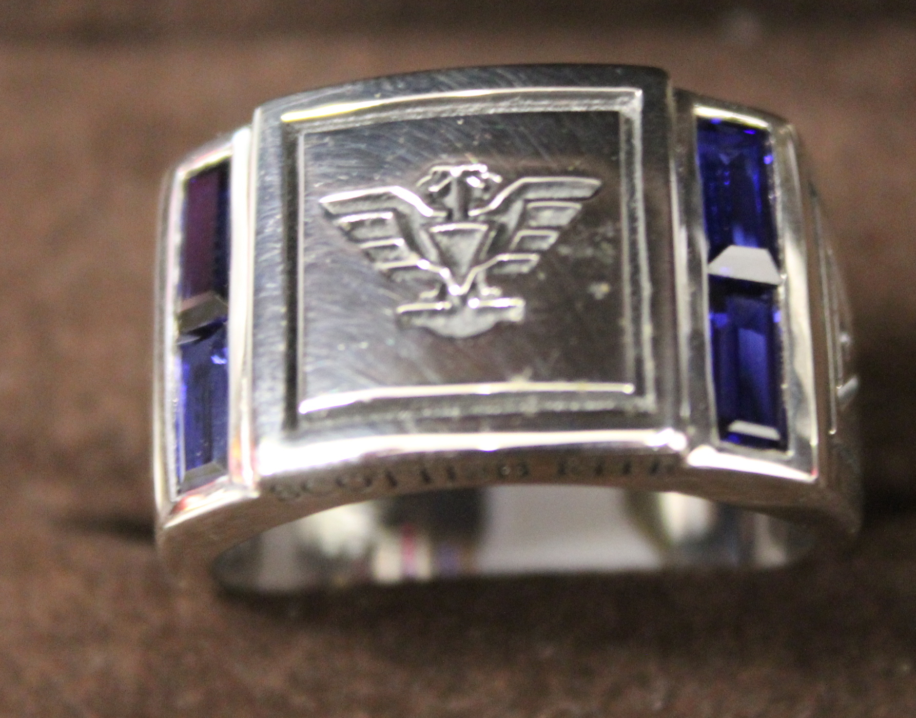 NEW Stirling Silver Synthetic Sapphire Scottish Rite Ring Size 11
