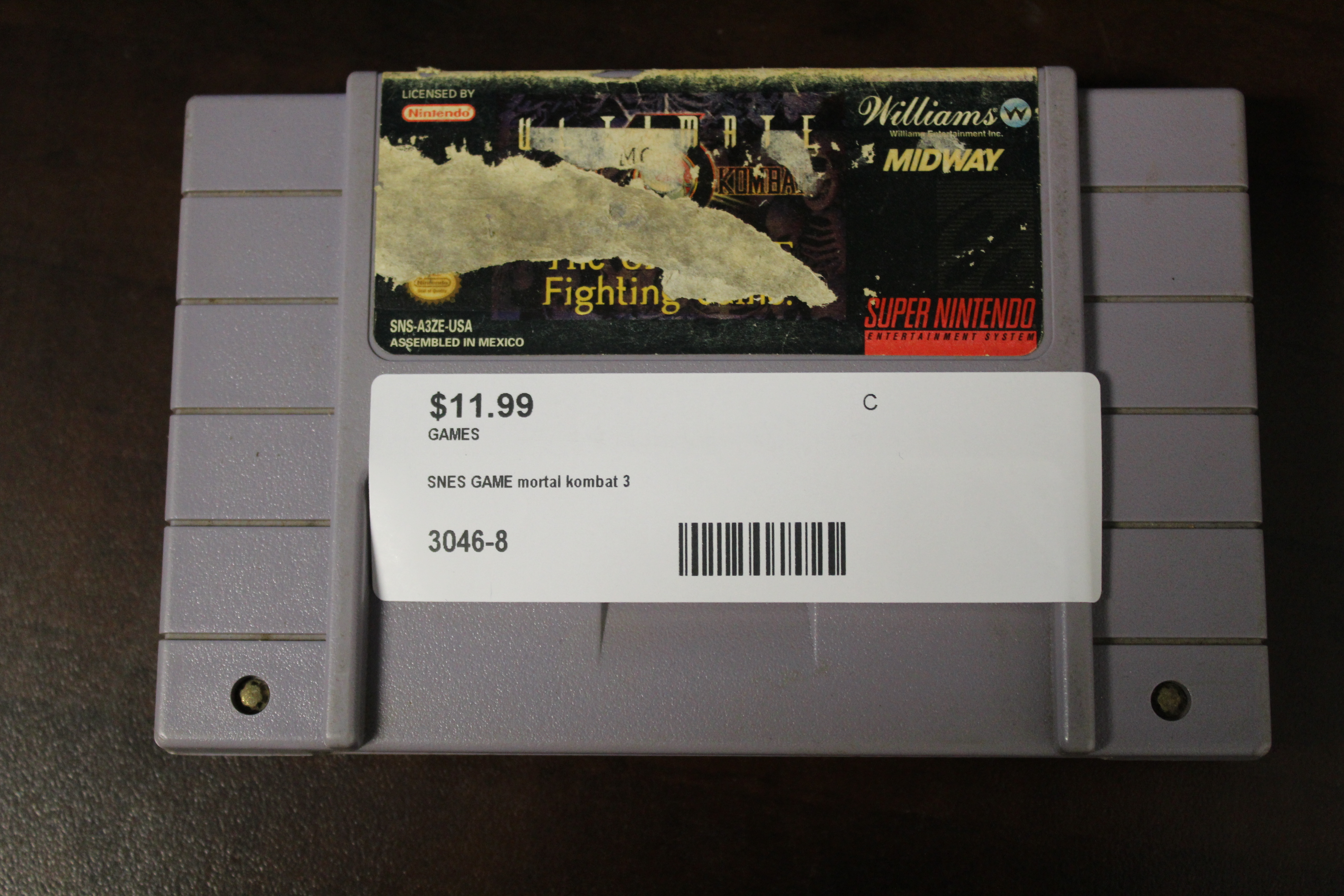 SNES GAME Mortal Kombat 3(damaged Label)