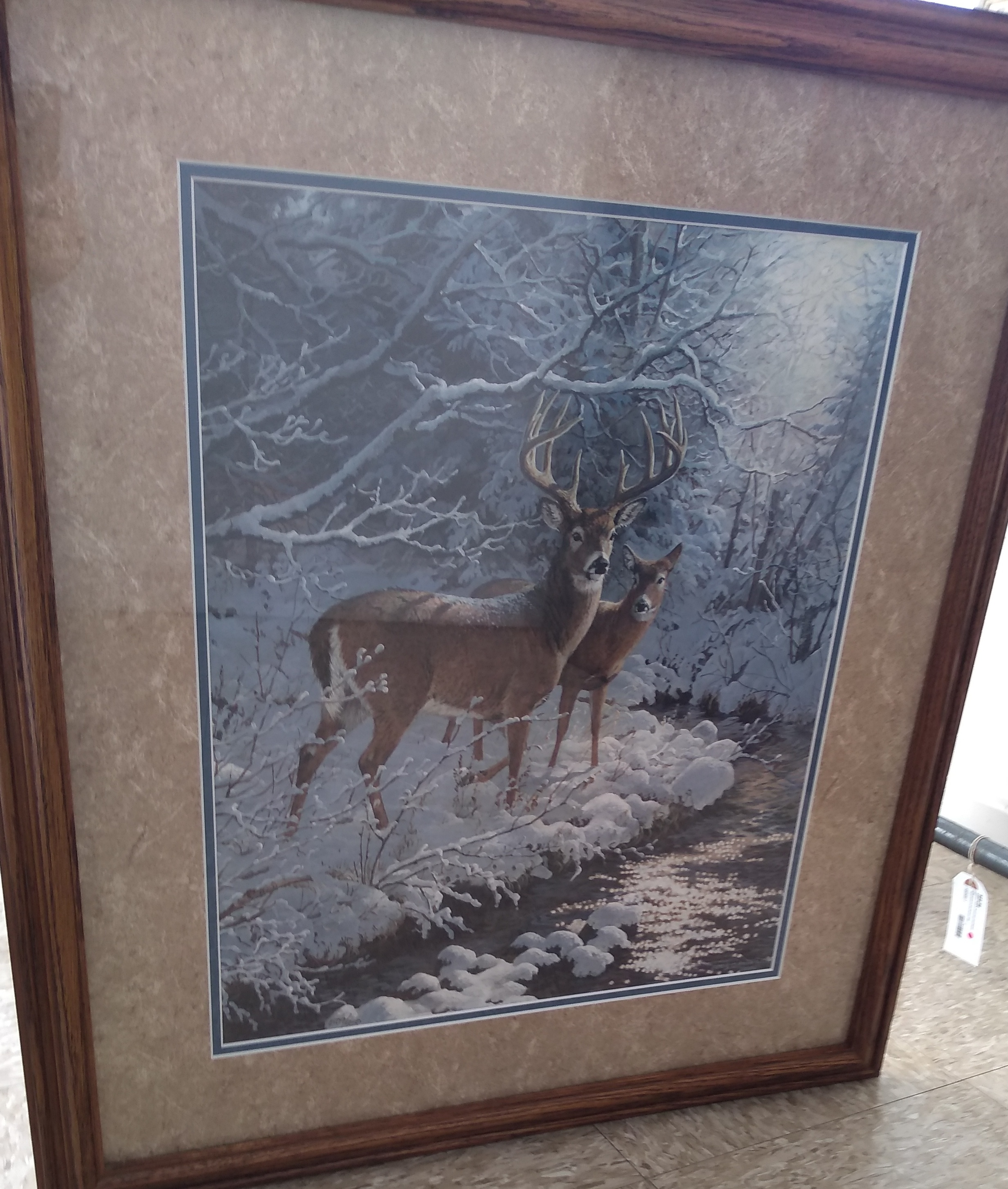 PAINTING OF DEER IN FRAME