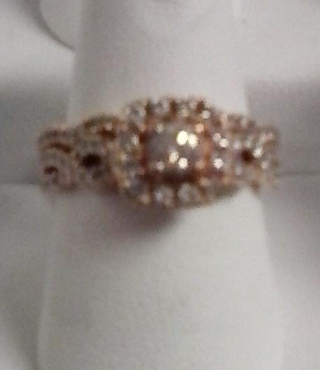 14K ROSE GOLD ENGAGEMENT/WEDDING RING SET - JEWELRY