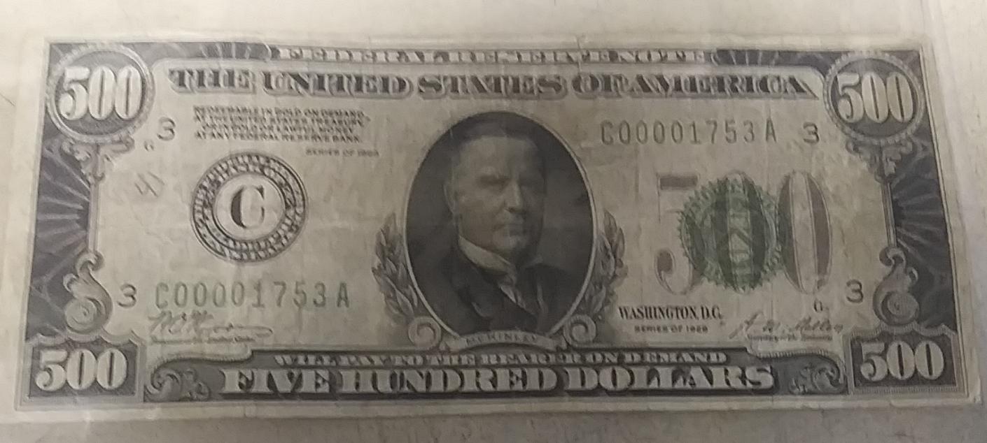 $$$$$$$ $500 DOLLAR BILL $$$$$$$$$$$$$$