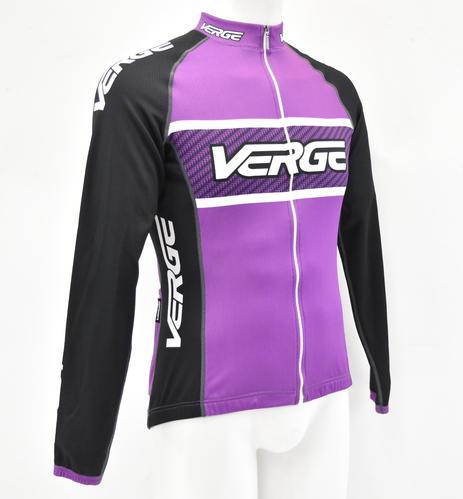 Verge Women s Elite Sport Long Sleeve Fleece Cycling Jersey Purple Black M  New 8cd1b35ab