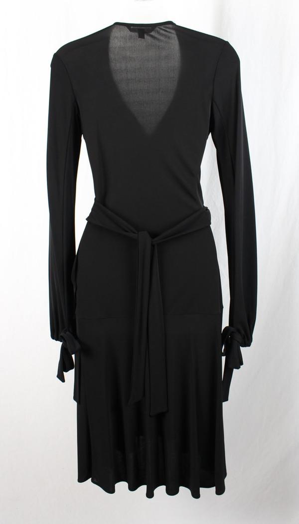 Diane Von Furstenberg Dvf Womens Black Long Sleeve Wrap V Neck