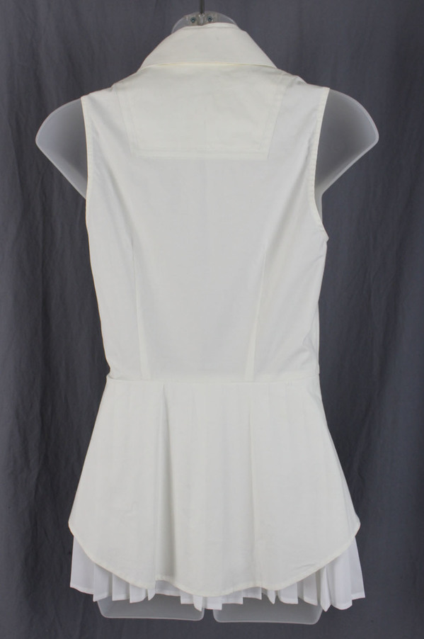 0698f5843221af Derek Lam 10 Crosby Ivory White Pleated Layered Sleeveless Button Down Shirt  0