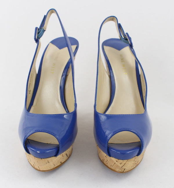 6bdb076484260 Nine West Blue Patent Leather Cork Platform Wedge Peep Toe Slingback Heel  Shoe 8