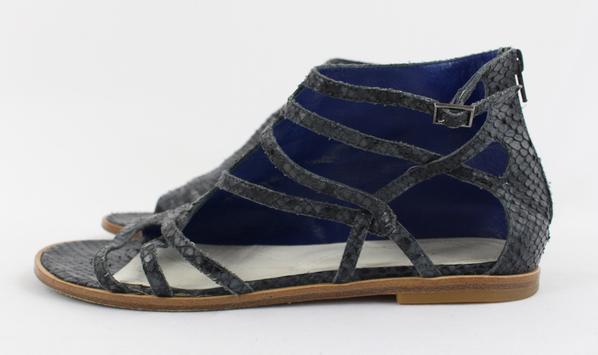 30e1a3f49 Maison Martin Margiela Multi Blue Snakeskin Strappy Ankle Sandal Flat Shoe  7.5