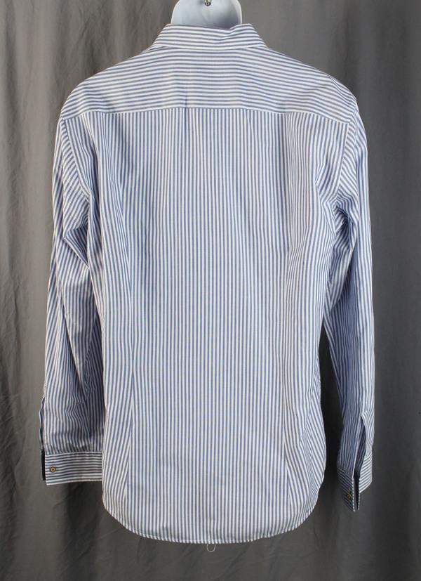 2dba2918 Boss Hugo Boss Men's Blue White Striped Button Down Slim Fit Shirt Top Size  L