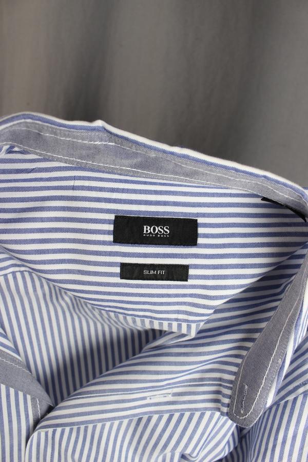265aecc6 Boss Hugo Boss Men's blue & white striped shirt; Slim fit; Button down  front closure; Long sleeve length; Size Large ...