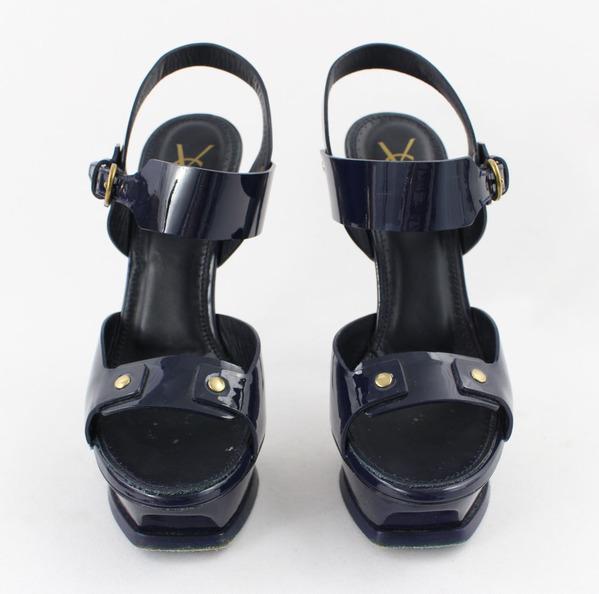 261d6e0199 YSL Yves Saint Laurent Navy Blue Patent Leather Platform Sandal Heel Shoe  Size 7