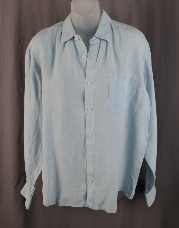 0452af2d3c Raffi Linea Uomo Men s Heather Light Blue Linen Button Down Shirt Top Size L