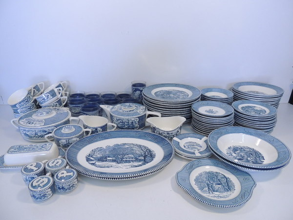 Lot 96 Courier Amp Ives Royal China Set Plate Bowl Cup Soup
