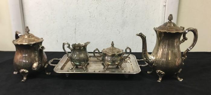Leonard Silver Plate 5 Piece Set Coffee Pot, Tea Pot, Creamer, Sugar ...
