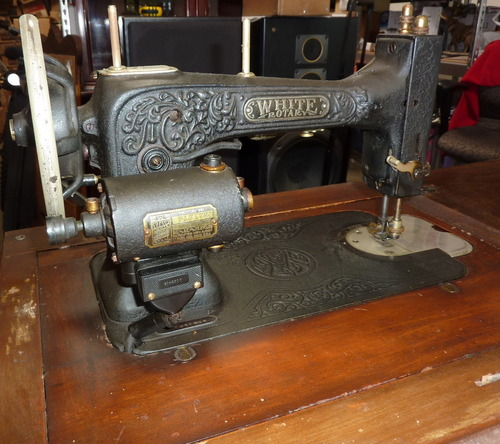 Antique White Rotary Sewing Machine And Accessories In