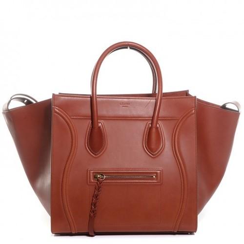 6fcf07ce37 NWT  3400 CELINE Brick Natural Calfskin Leather Medium Phantom Luggage Tote  Bag