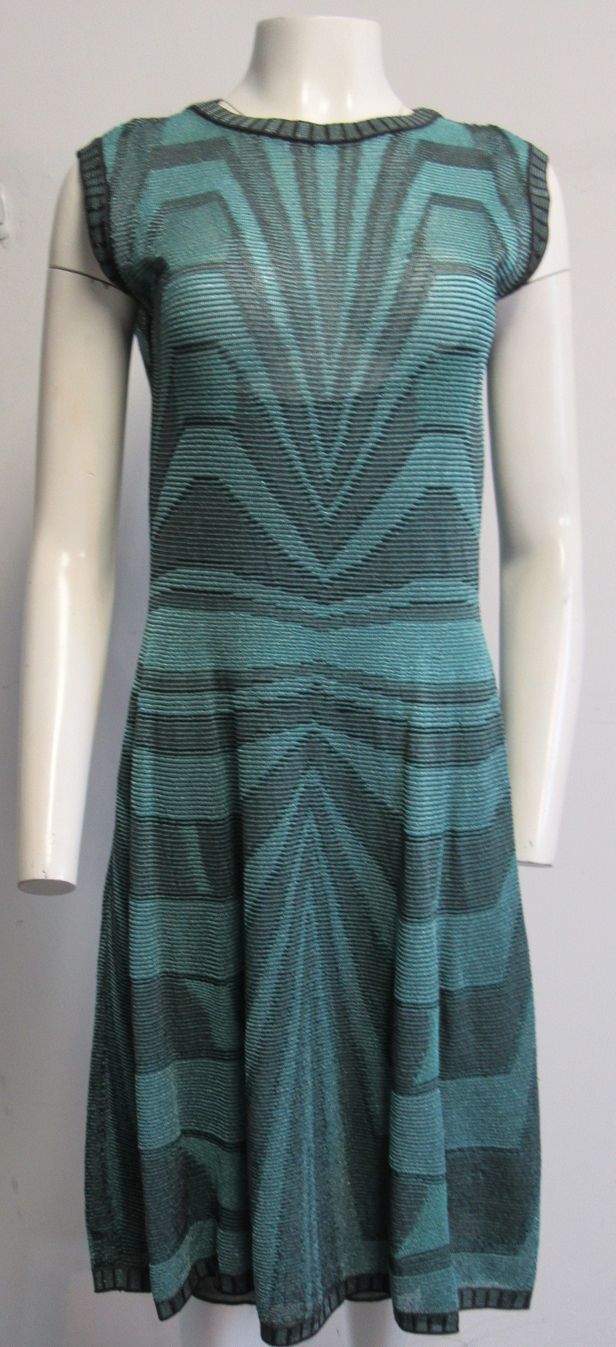 57675e6c89 Details about M MISSONI turquoise blue/black geometric print dress SZ 48/L