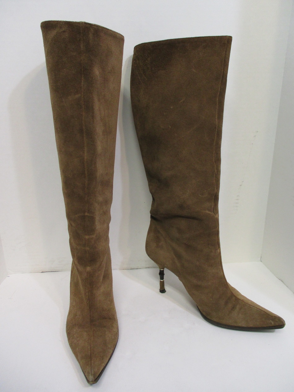 quality first luxury 60% discount Details about GUCCI chestnut brown suede bamboo heel pointed toe knee high  boots sz 8.5/ 38.5