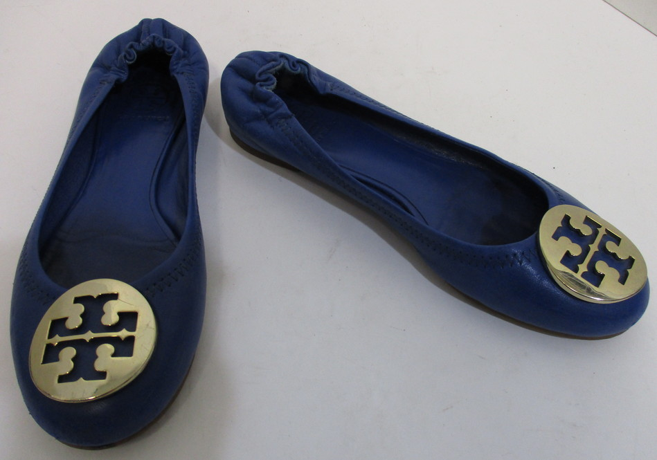 ae3bab30eb800c TORY BURCH blue leather  TT  logo ballet flats sz 6.5