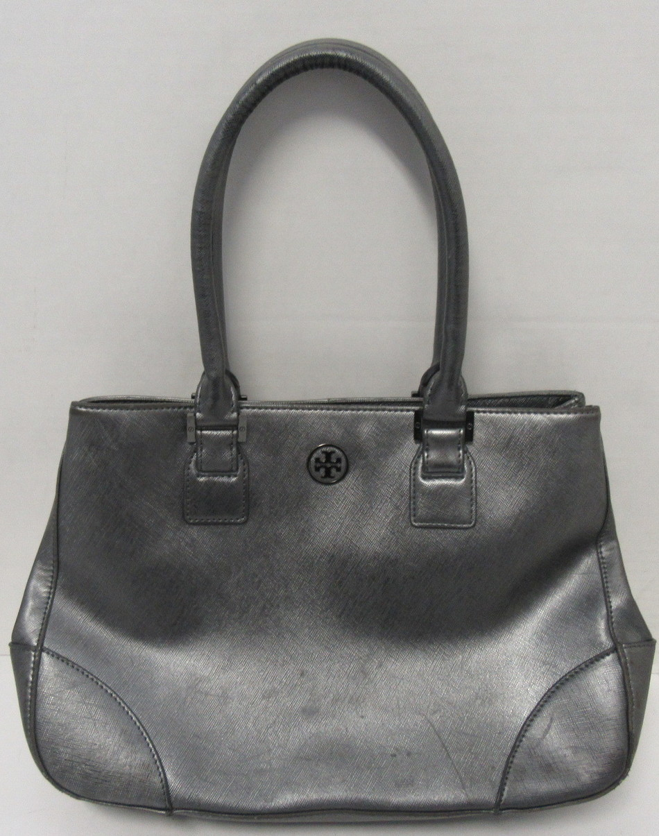 d1d48c73a5a Details about TORY BURCH Gunmetal Gray Leather Tote Bag