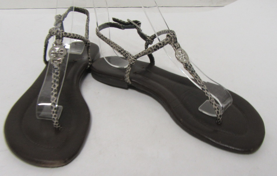 ff3107922 TORY BURCH Brown Leather Sole Black Beige Dot Design T-Strap Sandals Size  5.5