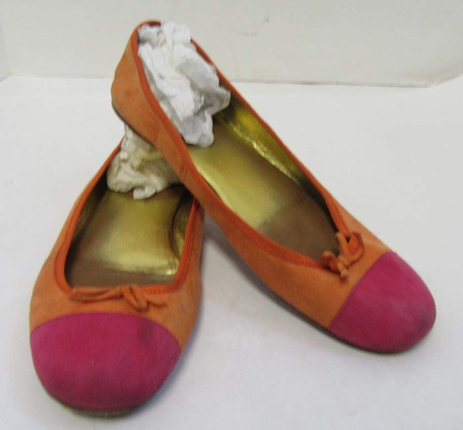 b47d279ad22 PRADA Bright Orange Hot Pink Cap-toe Suede Ballet Flats Size 39 | eBay