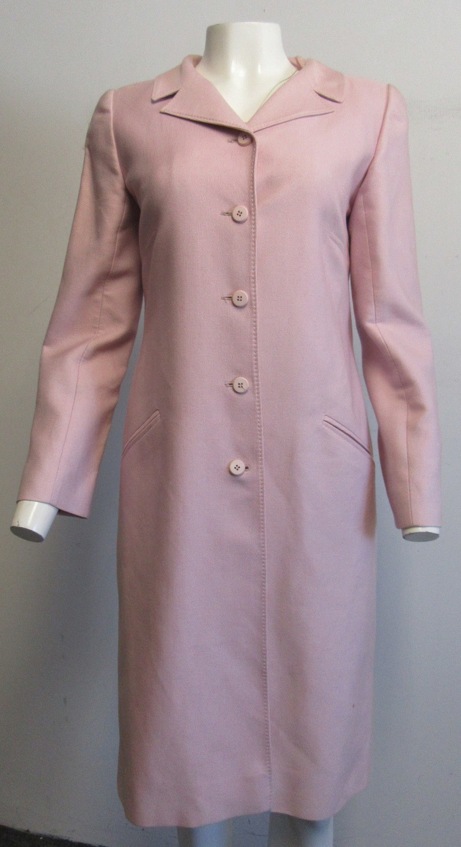 765fcb94a09 Details about VALENTINO pink textured cotton,silk long lightweight coat SZ 6