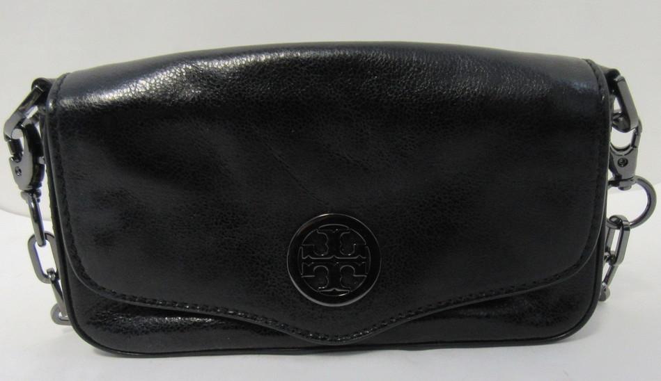 4ad1ae9ca512 TORY BURCH Black Mini Leather Crossbody Purse Bag with grey chain strap