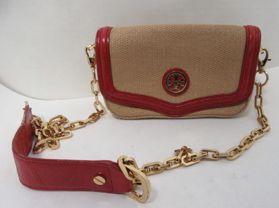 cb1f387a878 TORY BURCH Amanda Natural   Woven Straw Red Leather Mini Crossbody Shoulder  Bag