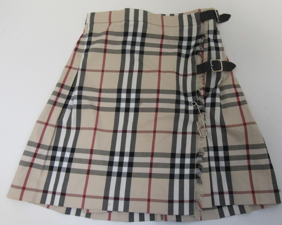 a08694997f BURBERRY LONDON girls novacheck pleated wrap skirt with buckles SZ 4/5-109cm