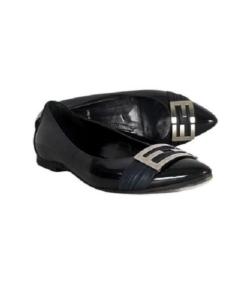 1609d9ab62 FENDI Black Patent Leather Silver Logo Flats Size 36 | eBay