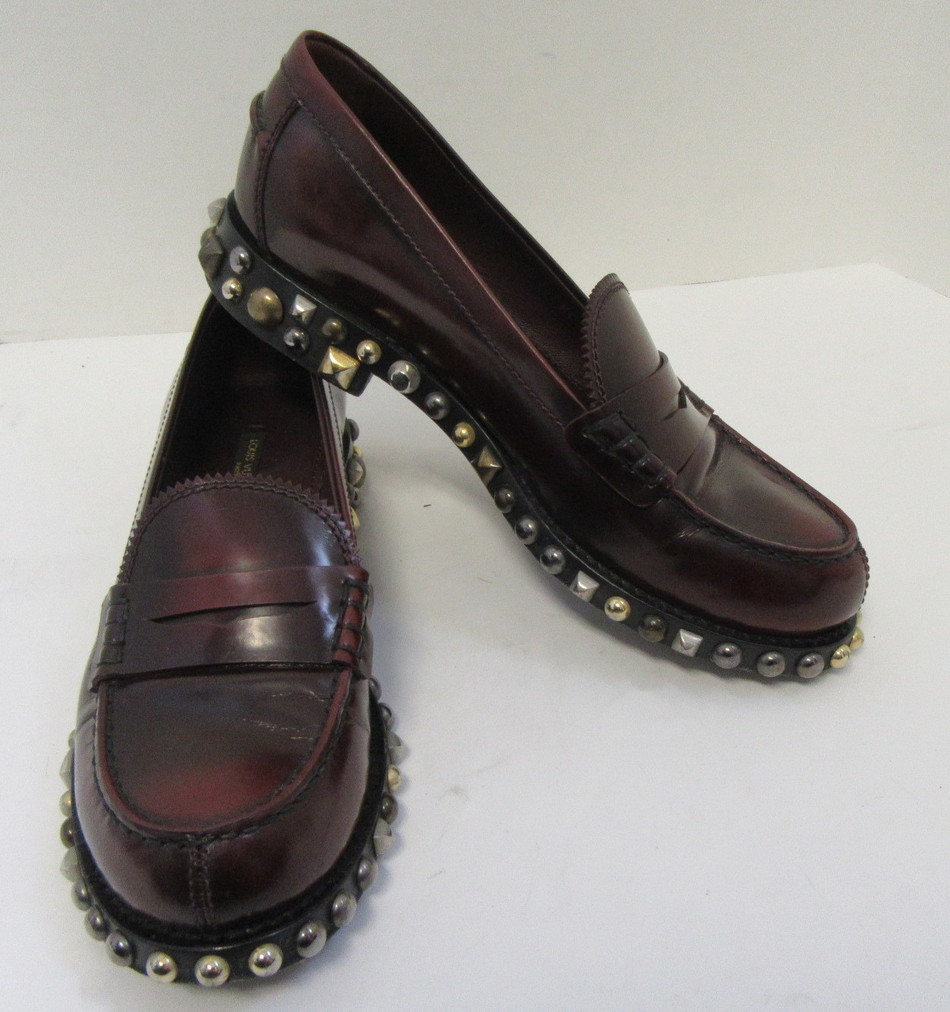 21300d164dbc Details about LOUIS VUITTON Burgundy Leather Loafers w  Zig-Zag Edge and  Studded Sole Size 38