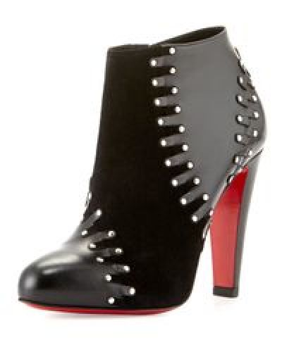 save off a54e2 91022 CHRISTIAN LOUBOUTIN Black Volvotico Suede/Leather Studded ...