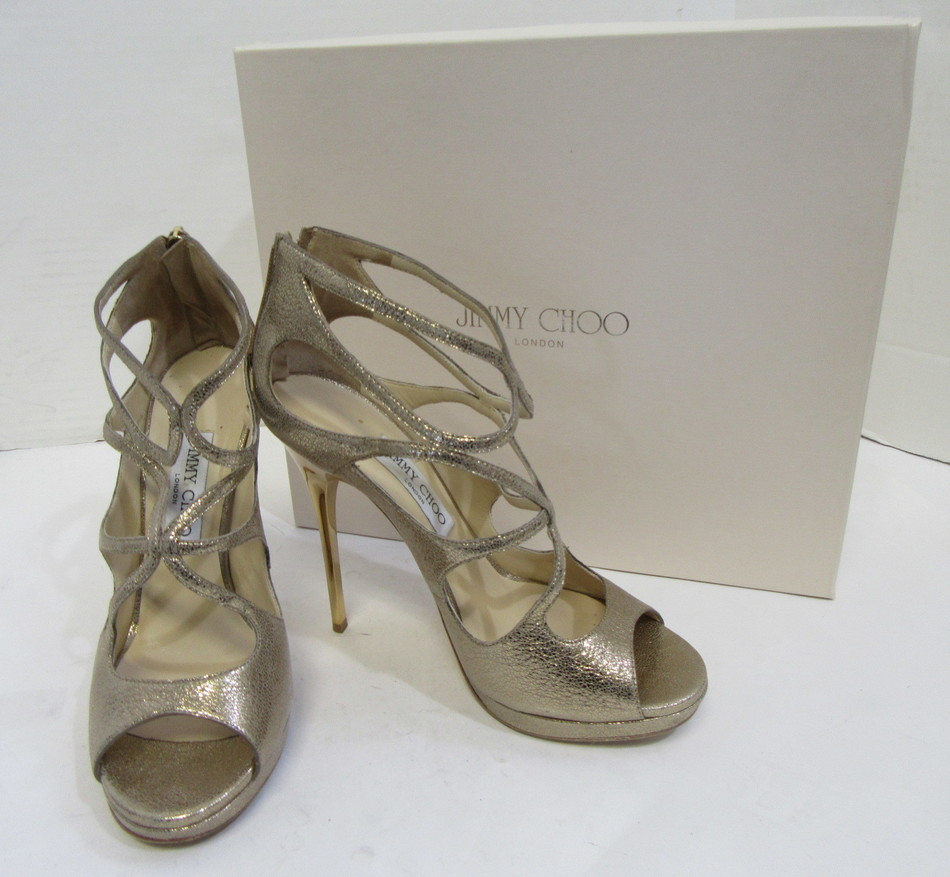 63c1cde5f94 JIMMY CHOO Metallic Gold Pebbled Leather Strappy Sandal Heels Size ...