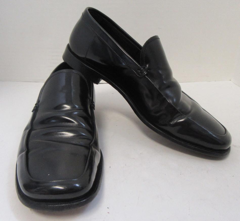 PRADA Men's Black Glazed Leather
