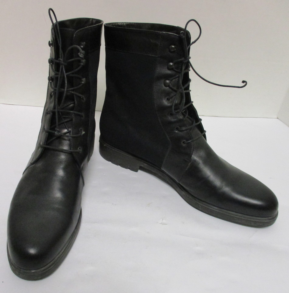 FRANCO SARTO Black Leather CARLSON Combat Ankle Boots Sz 10 $149 NEW