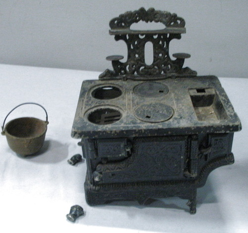 Antique Crown Cast Iron Miniature Wood Stove Oven Toy