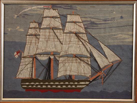 Antique 19thc British Sailor Folk Art Woolwork Wooly