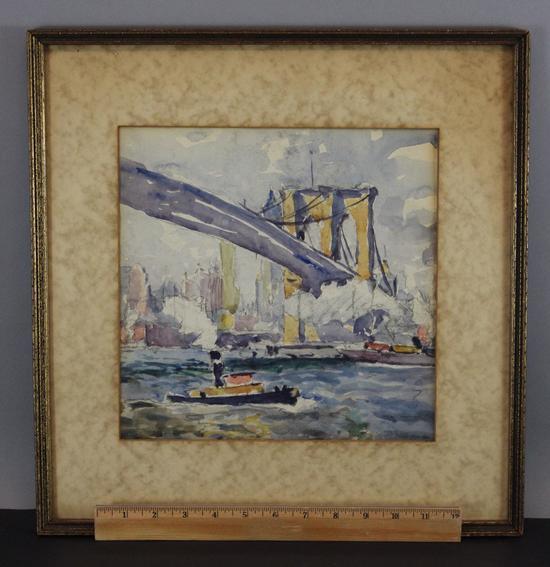 Watercolor New York: Antique JOSEPH GUERIN New York City Brooklyn Bridge