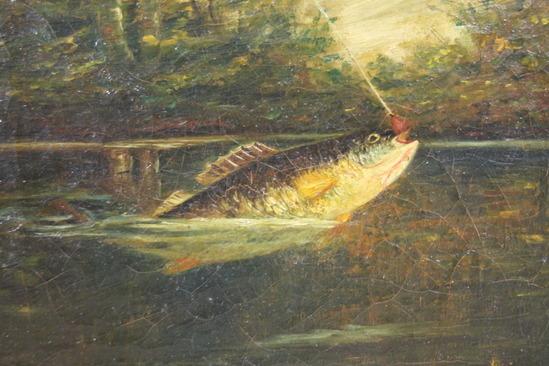 Antique 19thc Fly Fishing Folk Art Lake Bass Fish O C Camp