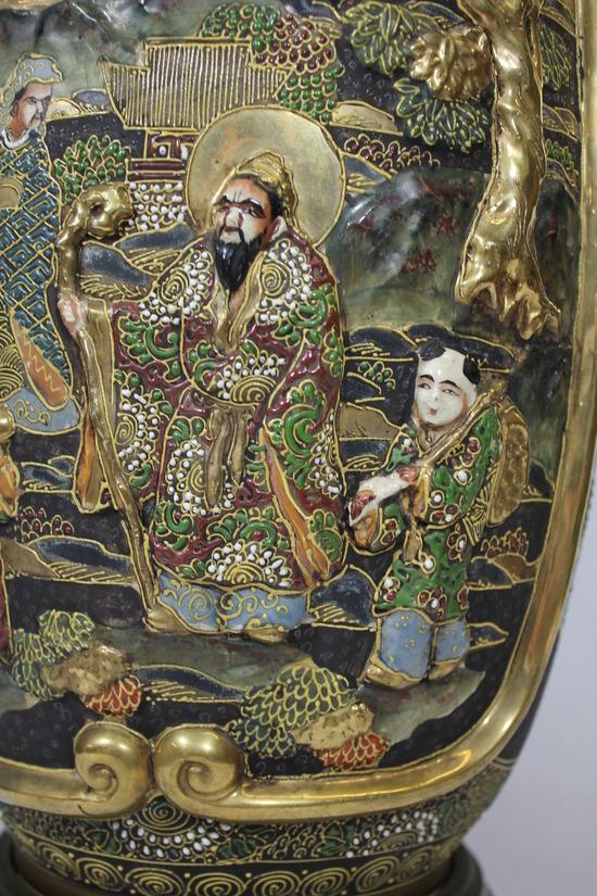 Large Antique Japanese Satsuma Pottery Vase Lamp Hand Painted Moriage Figures Ebay