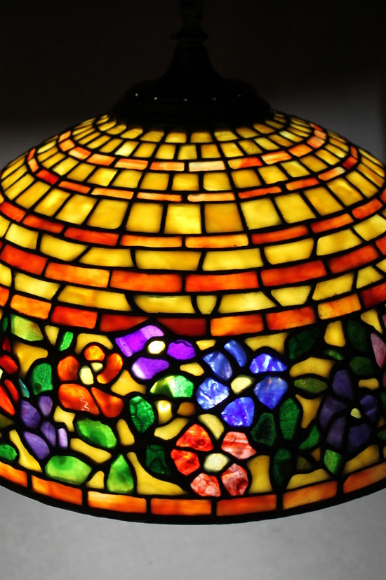 Authentic Signed Somer S Tiffany Leaded Glass Hanging Lamp Shade Nr