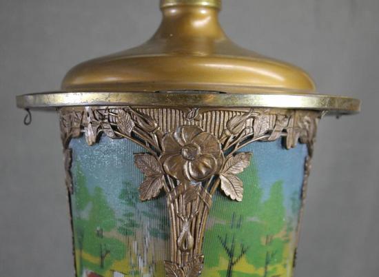 Antique Circa-1900 Reversed Painted Glass Hanging Lamp