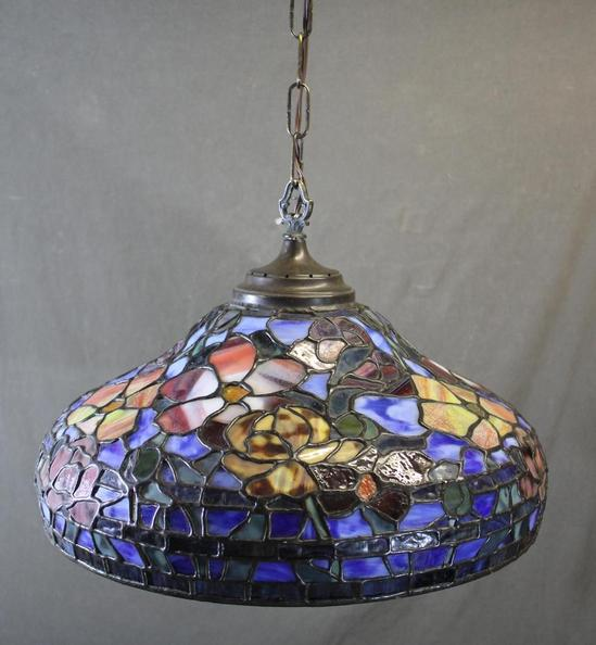 Antique Tiffany Hanging Lamp Value: Vintage Somers-Tiffany Stained Glass Hanging Lamp Shade