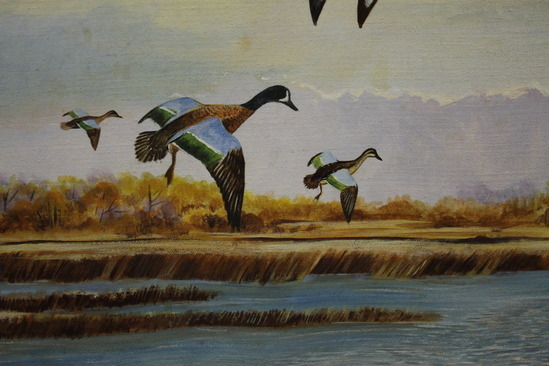Flying Duck Painting Original RON JENKINS O...