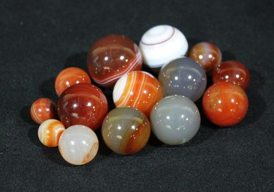 14 Antique Handmade Carnelian Agate Aggie Real Stone