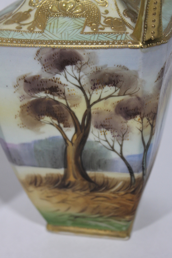 Pair Antique Imperial Nippon Hand Painted Japanese Porcelain Vases W Moriage Ebay