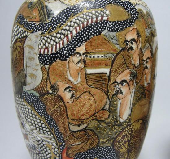 Pair Antique Japanese Signed Miniature Satsuma Pottery Vases Moriage Dragon Ebay