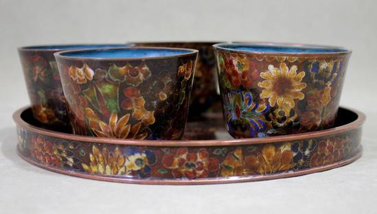 Antique Mid-20thC Japanese Cloisonne Enamel Teapot, Cups